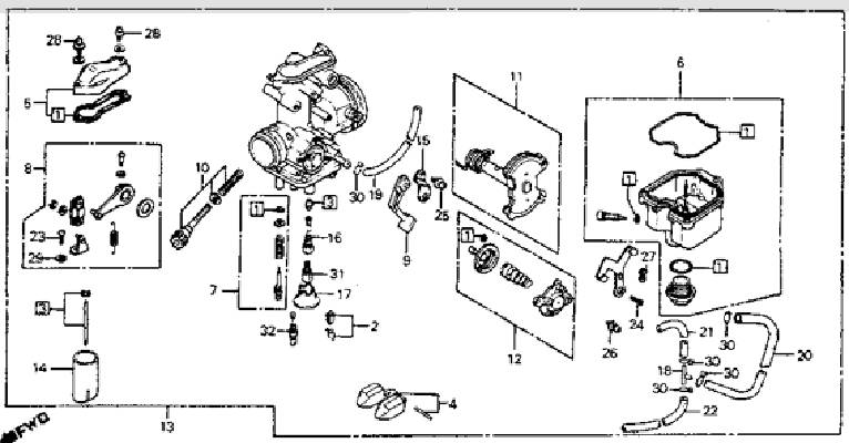 honda xr400 carburetor diagram